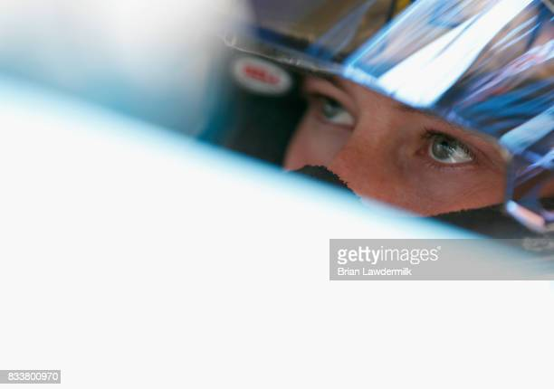 Daniel Hemric driver of the Blue Gate Bank Chevrolet sits in his car during practice for the NASCAR Xfinity Series Food City 300 at Bristol Motor...