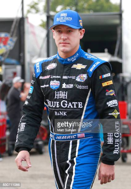 Daniel Hemric driver of the Blue Gate Bank Chevrolet walks to his car during practice for the NASCAR XFINITY Series MidOhio Challenge at MidOhio...