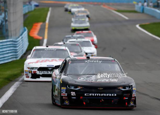 Daniel Hemric driver of the Death Wish Coffee Chevrolet leads a pack of cars during the NASCAR XFINITY Series Zippo 200 at The Glen at Watkins Glen...