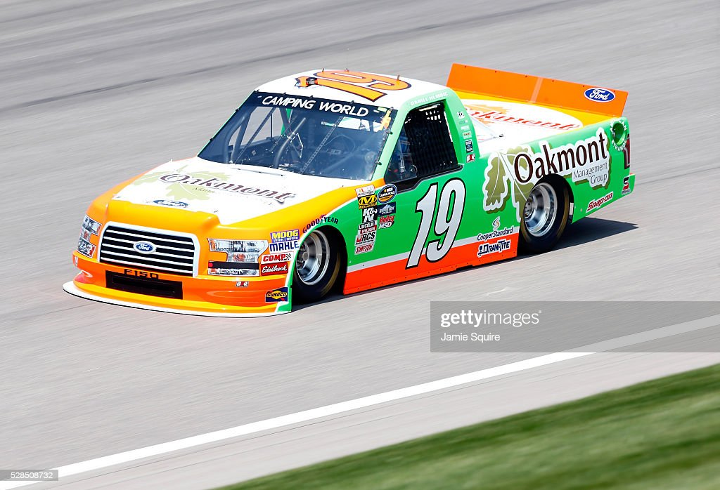 Daniel Hemric, driver of the #19 Oakmont Management Group Ford, practices for the NASCAR Camping World Truck Series 16th Annual Toyota Tundra 250 on May 05, 2016 in Kansas City, Kansas.