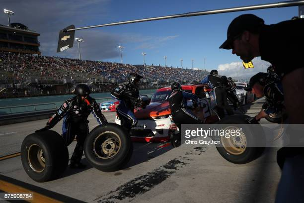 Daniel Hemric driver of the Poppy Bank Chevrolet pits during the NASCAR XFINITY Series Championship Ford EcoBoost 300 at HomesteadMiami Speedway on...
