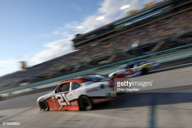 Daniel Hemric driver of the Poppy Bank Chevrolet pulls out of his pit during the NASCAR XFINITY Series Championship Ford EcoBoost 300 at...