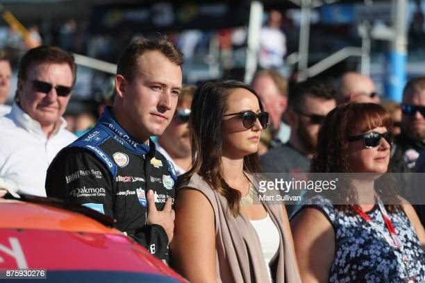 Daniel Hemric driver of the Poppy Bank Chevrolet takes part in prerace ceremonies for the NASCAR XFINITY Series Championship Ford EcoBoost 300 at...