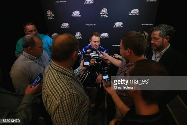 Daniel Hemric driver of the Poppy Bank Chevrolet talks to the media during media day for the NASCAR XFINITY Series Championship at the Loews Hotel on...