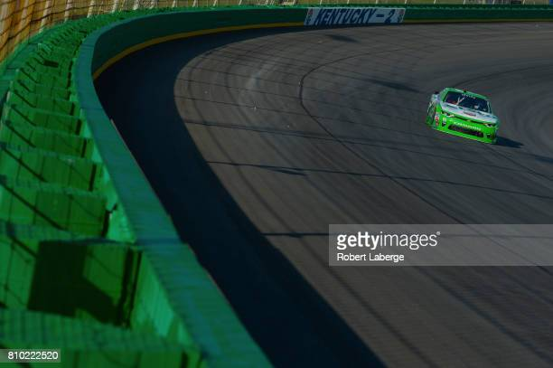Daniel Hemric driver of the Red Kap/Alsco Chevrolet drives during practice for the NASCAR XFINITY Series Alsco 300 at Kentucky Speedway on July 7...