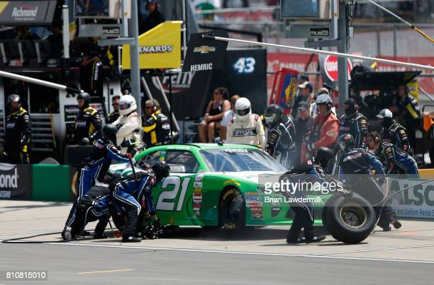 Daniel Hemric driver of the Red Kap/Alsco Chevrolet pits during the NASCAR XFINITY Series Alsco 300 at Kentucky Speedway on July 8 2017 in Sparta...