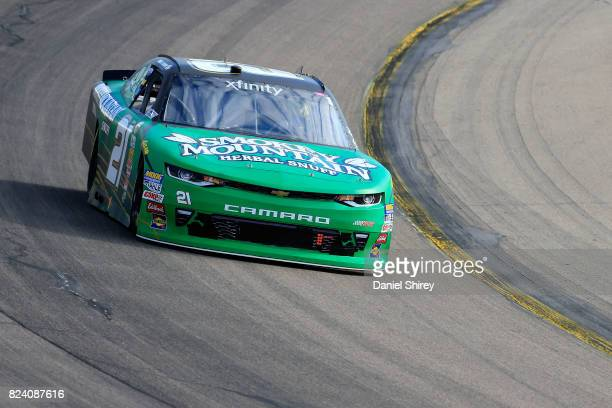 Daniel Hemric driver of the Smokey Mountain Herbal Snuff Chevrolet practices for the NASCAR XFINITY Series US Cellular 250 Presented by American...