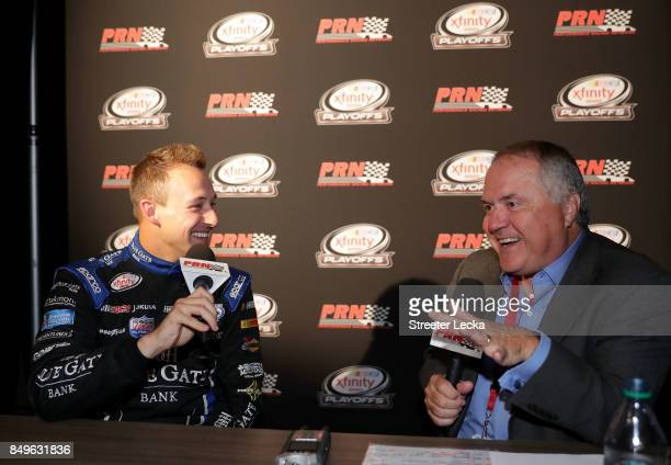 Daniel Hemric speaks to the media as one of the 12 remaining drivers eligible to win the NASCAR XFINITY Series Championship during the NASCAR XFINITY...