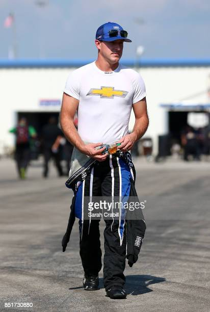 Daniel Hemric walks to his car during practice for the NASCAR Xfinity Series VisitMyrtleBeachcom 300 at Kentucky Speedway on September 22 2017 in...