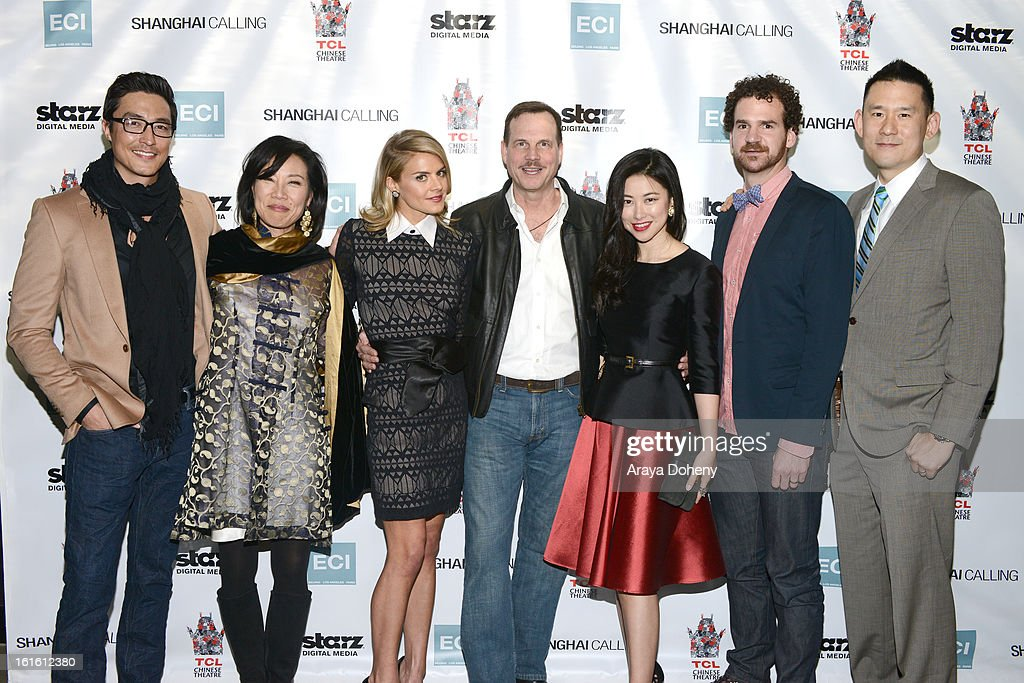 Daniel Henney, Janet Yang, Eliza Coupe, Bill Paxton, Zhu Zhu, Sean Gallagher and Daniel Hsia attend the 'Shanghai Calling' Los Angeles premiere at TCL Chinese Theatre on February 12, 2013 in Hollywood, California.