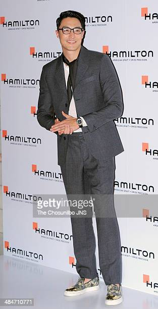 Daniel Henney poses for photographs during the Hamilton 5 year celebration event at CGV on April 10 2014 in Seoul South Korea