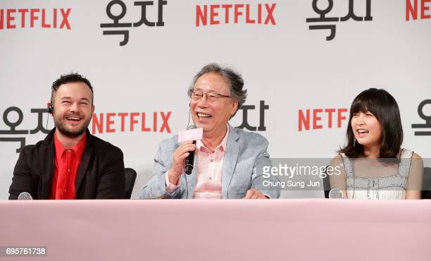 Daniel Henshall Byun Heebong An Seo Hyun attend the official press conference after Korea Red Carpet Premiere of Netflix release 'Okja' at the Four...