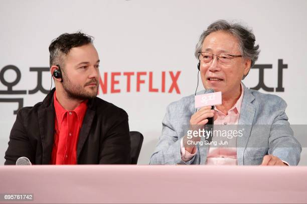 Daniel Henshall Byun Heebong attend the official press conference after Korea Red Carpet Premiere of Netflix release 'Okja' at the Four Seasons on...