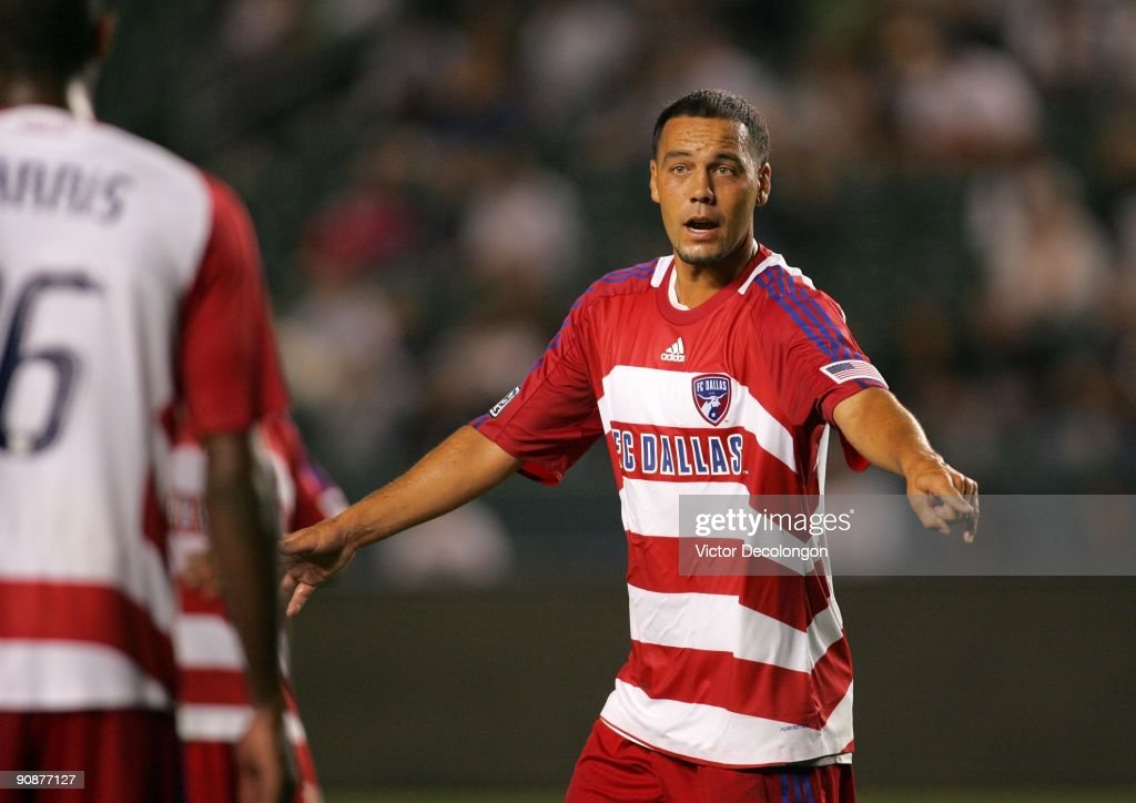 <a gi-track='captionPersonalityLinkClicked' href=/galleries/search?phrase=Daniel+Hernandez&family=editorial&specificpeople=2157363 ng-click='$event.stopPropagation()'>Daniel Hernandez</a> #2 of FC Dallas organizes the defense during a break in play during the MLS match against the Los Angele Galaxy at The Home Depot Center on September 12, 2009 in Carson, California. FC Dallas defeated the Galaxy 6-3.