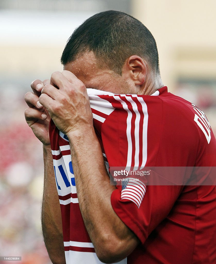 <a gi-track='captionPersonalityLinkClicked' href=/galleries/search?phrase=Daniel+Hernandez&family=editorial&specificpeople=2157363 ng-click='$event.stopPropagation()'>Daniel Hernandez</a> #2 of the FC Dallas reacts after being shown the red card during the first half of a soccer game against the Colorado Rapids at FC Dallas Stadium on May 6, 2012 in Frisco, Texas. The Colorado Rapids won 2-0.