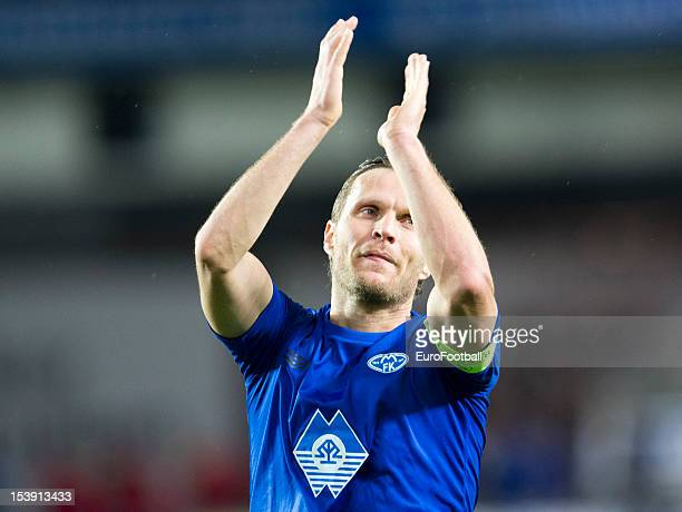 Daniel Hestad of Molde FK applauds the supporters during the UEFA Europa League group stage match between Molde FK and VfB Stuttgart held on October...