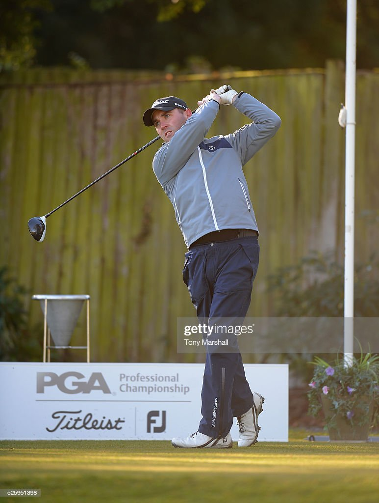 Daniel Higgs of Walsall Golf Club plays his first shot on the 1st tee during the PGA Professional Championship - Midland Qualifier at Little Aston Golf Club on April 29, 2016 in Sutton Coldfield, England.