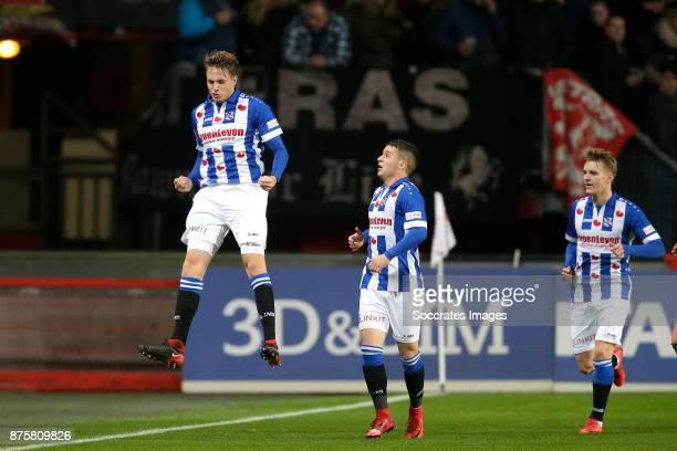 Daniel Hoegh of SC Heerenveen celebrates 01 with Nicolai Naess of SC Heerenveen Martin Odegaard of SC Heerenveen during the Dutch Eredivisie match...