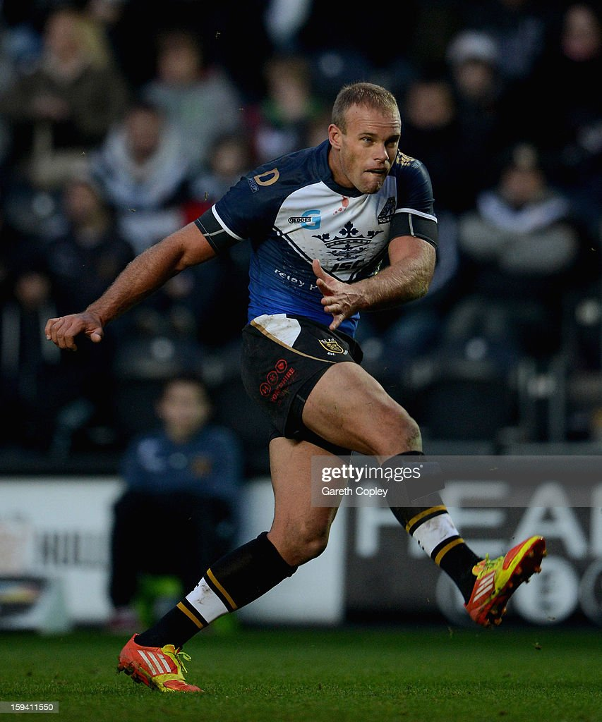 Daniel Holdsworth of Hull FC during a pre-season friendly match between Hull FC and Castleford Tigers at The KC Stadium on January 13, 2013 in Hull, England.