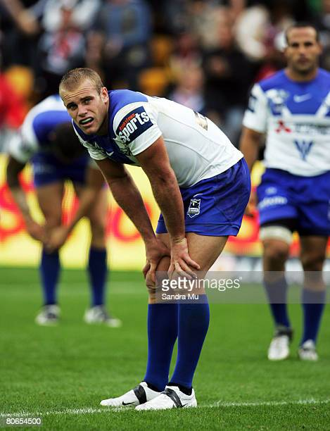 Daniel Holdsworth of the Bulldogs looks dejected after the Warriors scored another try during the round five NRL match between the Warriors and the...
