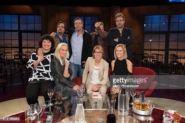 Daniel Holl Steven Sloane Samuel Finzi Paul Panzer Meltem Kaptan Janine Kunze Bettina Boettinger and Linda Hesse attend the 'Koelner Treff' TV Show...