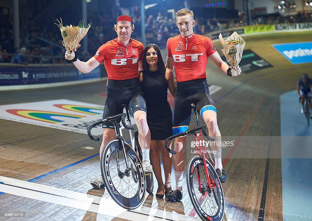 Daniel Holloway and Daniel Hartvig celebrating Best Lap time during day four at the Copenhagen Six Days Race Cycling at Ballerup Super Arena on February 7, 2016 in Ballerup, Denmark.