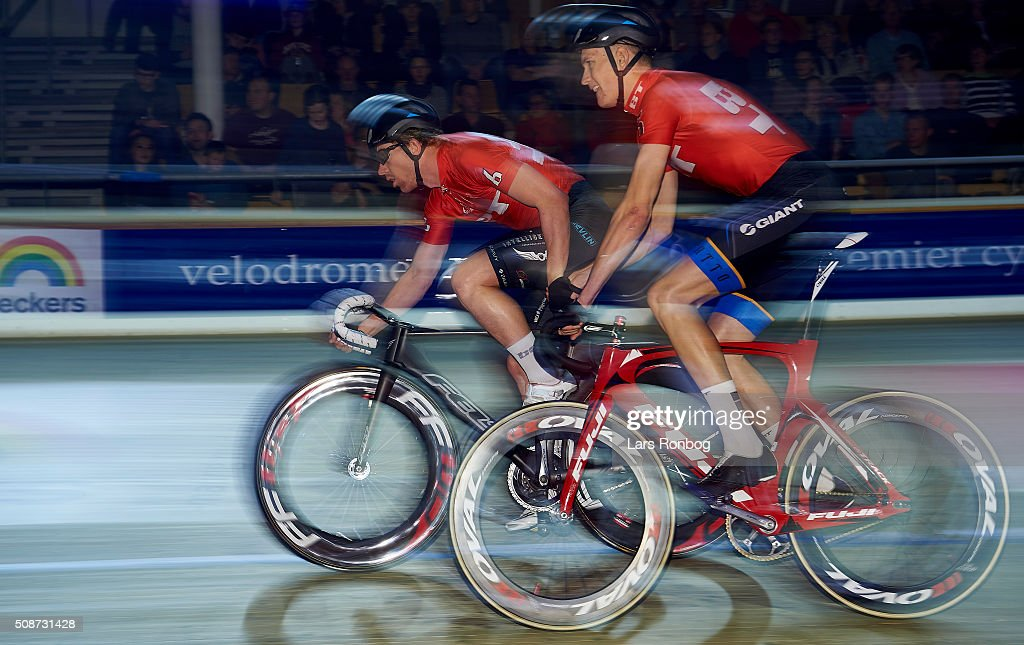 Daniel Holloway and Daniel Hartvig in action during day three at the Copenhagen Six Days Race Cycling at Ballerup Super Arena on February 6, 2016 in Ballerup, Denmark.