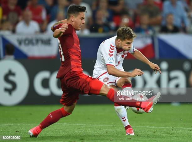 Daniel Holzer of Czech Republic and Andrew Hjulsager of Denmark in action during the UEFA European Under21 Championship Group C match between Czech...