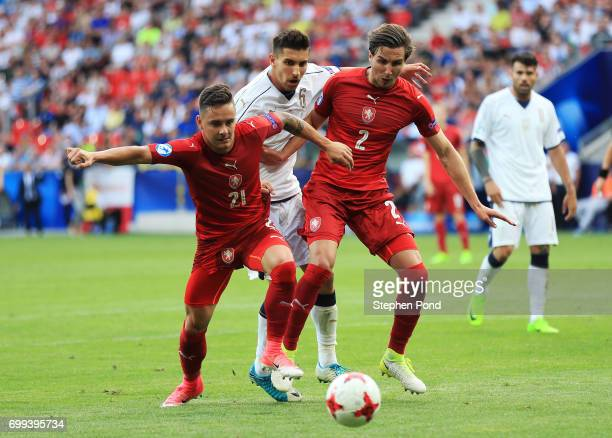 Daniel Holzer of Czech Republic Stefan Simic of Czech Republic attempt to stop Lorenzo Pellegrini of Italy from getting the ball during the UEFA...