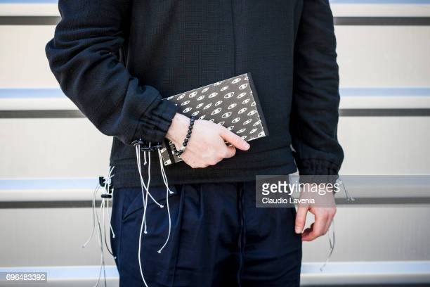 Daniel Horvath fashion details are seen during Pitti Immagine Uomo 92 at Fortezza Da Basso on June 15 2017 in Florence Italy