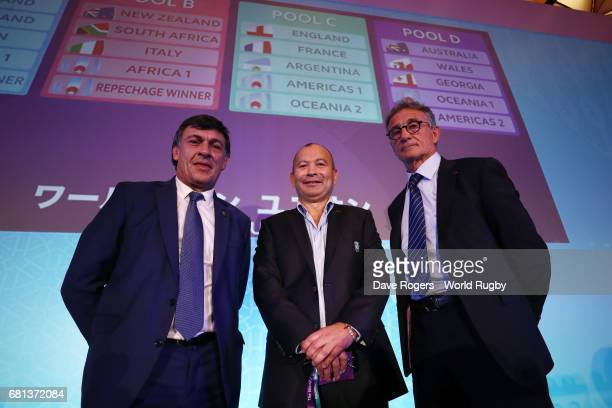 Daniel Hourcade head coach of Argentina Eddie Jones Head Coach of England and Guy Noves Head Coach of France pose during the Rugby World Cup 2019...