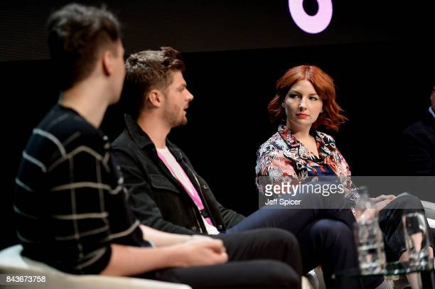 Daniel Howell Jim Chapman and Alice Levine speak at the Technology with Heart Jaguar Land Rover's Tech Fest at Central St Martins on September 7 2017...