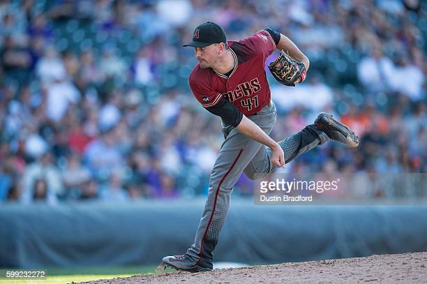 Daniel Hudson of the Arizona Diamondbacks pitches against the Colorado Rockies in the ninth inning of a game at Coors Field on September 4 2016 in...
