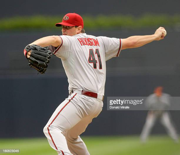Daniel Hudson of the Arizona Diamondbacks pitches against the San Diego Padres during their game on June 2 2012 at Petco Park in San Diego California