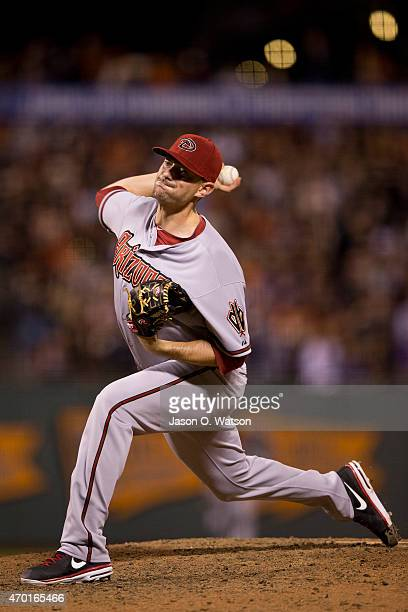 Daniel Hudson of the Arizona Diamondbacks pitches against the San Francisco Giants during the eighth inning at ATT Park on April 16 2015 in San...