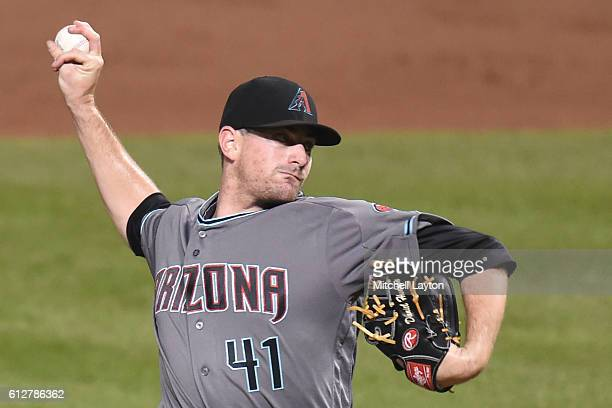 Daniel Hudson of the Arizona Diamondbacks pitches during a baseball game against the Baltimore Orioles at Oriole Park at Camden Yards on September 23...