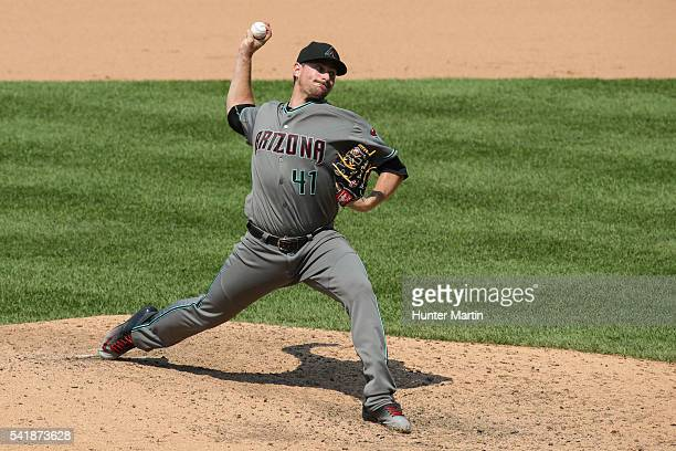 Daniel Hudson of the Arizona Diamondbacks throws a pitch in the eighth inning during a game against the Philadelphia Phillies at Citizens Bank Park...