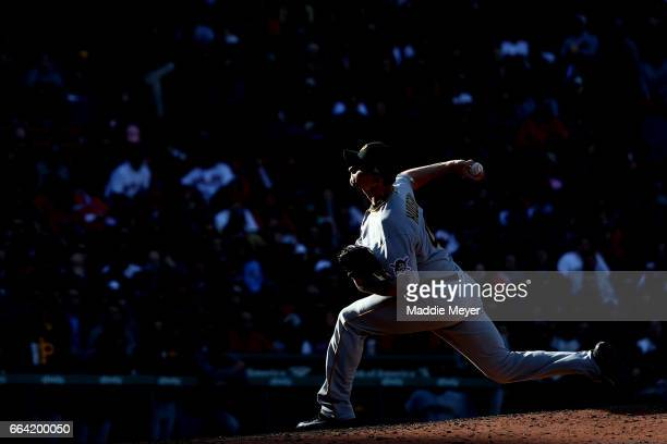 Daniel Hudson of the Pittsburgh Pirates pitches against the Boston Red Sox during the eighth inning of the opening day game at Fenway Park on April 3...