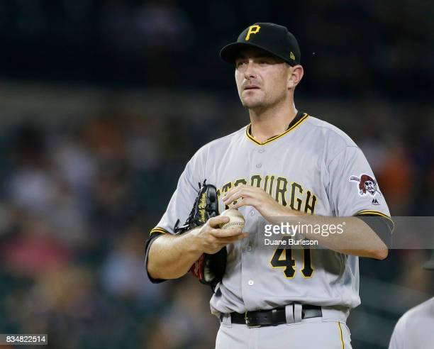 Daniel Hudson of the Pittsburgh Pirates pitches against the Detroit Tigers during an interleague game at Comerica Park on August 9 2017 in Detroit...