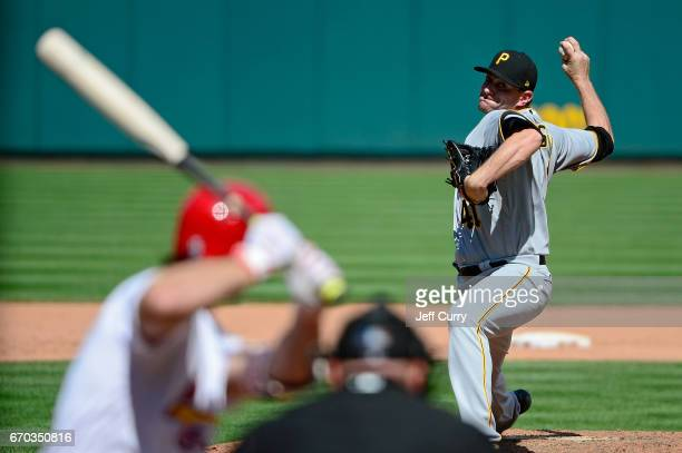 Daniel Hudson of the Pittsburgh Pirates pitches to Randal Grichuk of the St Louis Cardinals during the eighth inning at Busch Stadium on April 19...