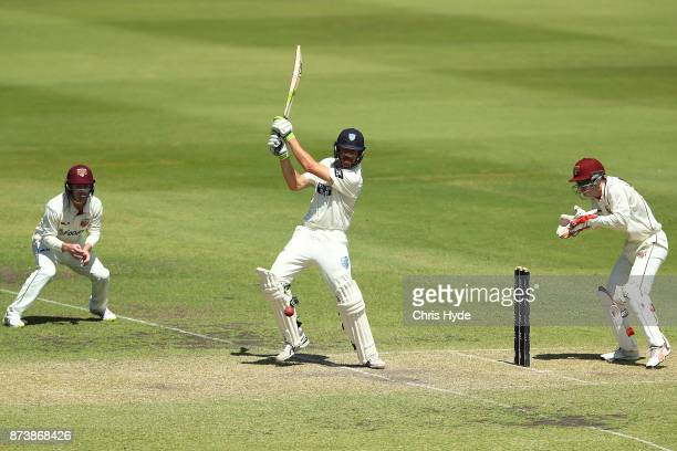 Daniel Hughes of New South Wales bats during day two of the Sheffield Shield match between Queensland and New South Wales at Allan Border Field on...