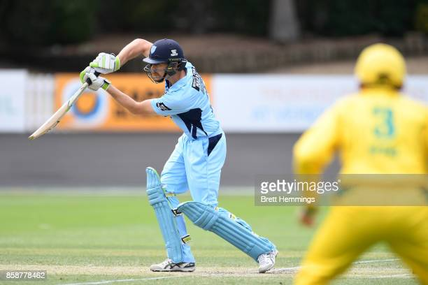 Daniel Hughes of NSW bats during the JLT One Day Cup match between New South Wales and the Cricket Australia XI at Hurstville Oval on October 8 2017...