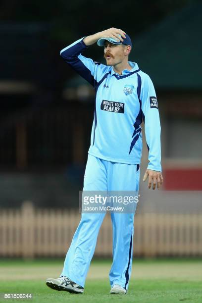 Daniel Hughes of NSW reacts during the JLT One Day Cup match between New South Wales and Victoria at North Sydney Oval on October 15 2017 in Sydney...