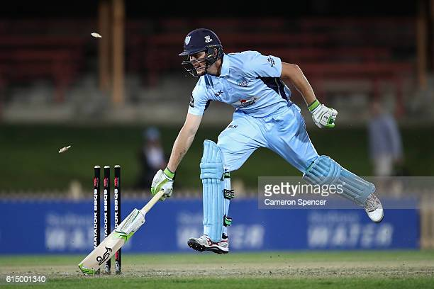 Daniel Hughes of the Blues avoids a runout during the Matador BBQs One Day Cup match between New South Wales and Victoria at North Sydney Oval on...