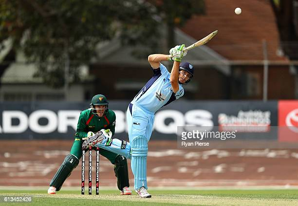 Daniel Hughes of the Blues bats during the Matador BBQs One Day Cup match between New South Wales and Tasmania at Hurstville Oval on October 9 2016...