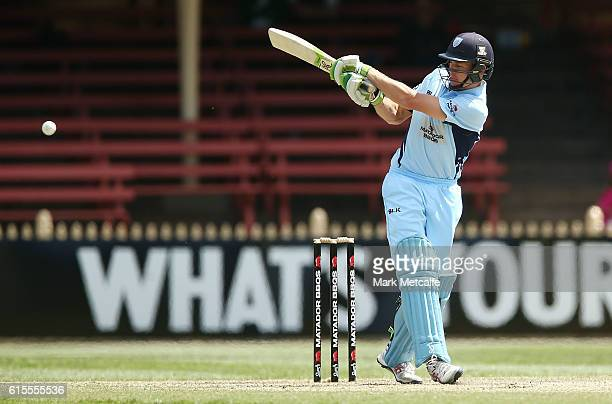 Daniel Hughes of the Blues bats during the Matador BBQs One Day Cup match between New South Wales and Western Australia at North Sydney Oval on...