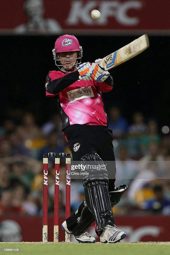Daniel Hughes of the Sixers bats during the Big Bash League match between the Brisbane Heat and the Sydney Sixers at The Gabba on January 7, 2013 in Brisbane, Australia.