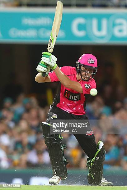 Daniel Hughes of the Sixers bats during the Big Bash League semi final match between the Brisbane Heat and the Sydney Sixers at the The Gabba on...