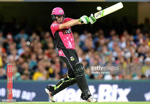 Daniel Hughes of the Sixers hits the ball to the boundary for a four during the Big Bash League semi final match between the Brisbane Heat and the...