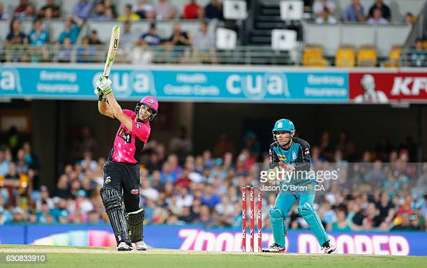 Daniel Hughes of the sixers in action during the Big Bash League match between the Brisbane Heat and Sydney Sixers at The Gabba on January 3 2017 in...